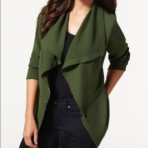 Justfab open front zip detail jacket